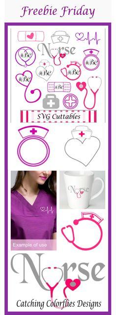 Nursing Monogram Frame SVG, DXF, EPS, PNG cut files.  Free SVG files for cricut. Free SVG files for silhouette.