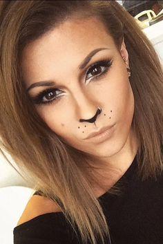 Leopard-Halloween-Make-up - Karneval - halloween schminke Lion Makeup, Bunny Makeup, Animal Makeup, Beauty Makeup, Cat Face Makeup, Cheetah Makeup, Kitty Cat Makeup, Black Cat Makeup, Tiger Makeup