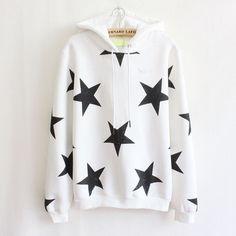 Black/White/Purple Red Harajuku Star Hoodie Jumper SP168444