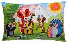 Maulwurfshop - 1524 - Der Kleine Maulwurf Microvelours-Kissen Kissen Kuschelkissen Motivkissen Motiv Musik 45x30cm