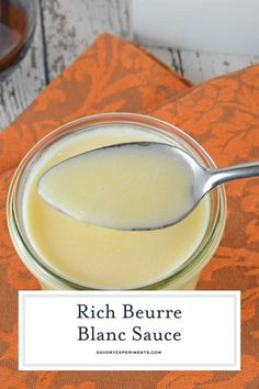 """Beurre Blanc is a classic French sauce translated as """"white butter"""". Decadent and rich, serve it over meats and pasta dishes. Lemon Beurre Blanc Sauce Recipe, Recipes With Fish Sauce, Sauce Recipes, Fish Recipes, Cooking Recipes, Gourmet, Dressings, Butter, French Tips"""