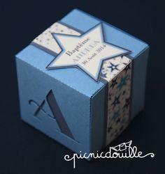 Boîte de dragées thème Liberty et étoiles garçon : Autres papeterie par picnicdouille