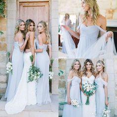 0d32345f8e1f Amsale 2017 Gorgeous Draped Sky Blue Off-shoulder Beach Boho Long  Bridesmaid Dresses Bohemian Wedding Party Guest Bridesmaids Gowns Cheap