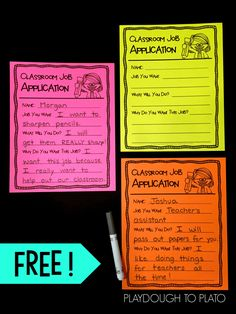 Classroom Job Application! A free must have for back to school this fall with first grade and second grade! A great way to help kids create community and a sense of responsibility in the classroom. by thinking about what kind of job they want to have. Great writing practice for kids as well!