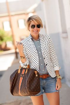 blazer (J.Crew on SALE), blouse (J.Crew, LOVE THIS OPTION), belt (Banana Republic), cutoffs (J.Brand,Alternative ON SALE), heels (French Connection ON SALE), bag (Louis Vuitton), watch (Michael Kors), rings (Lagos,Anna Beck), bracelets (J.Crew,Linea Pelle), shades (Ray Ban), necklace (Maya Brenner) Normally left for the more laid back crowd, I wanted to add polish to theCutoffwith aBlazerand …