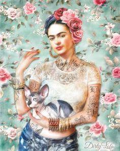 Frida Kahlo Art Print Illustration Portrait door DirtyLola