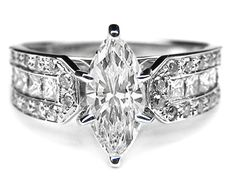 The settings in the Marquise Diamond collection will highlight and enhance the look of the Marquise center diamond.