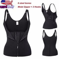 a6f4736c432  USPS  Adjustable Shoulder Strap Waist Trainer Vest Corset Women Metal  Zipper Hook Body Shaper Waist Cincher Tummy Control