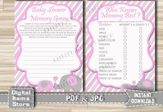 Printable Elephant Who Knows Mommy Best Pink Gray   Baby Shower Memory Game    Who Knows Mommy Best   Instant Download   Ep11