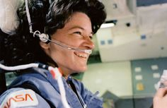 """On June 18, 1983, Sally Ride became the first American woman to fly in space when the space shuttle Challenger launched on mission STS-7 from Pad 39A at NASA's Kennedy Space Center in Florida.  One of Sally Ride's jobs was to call out """"Roll program"""" seven seconds after launch. """"I'll guarantee that those were the hardest words I ever had to get out of my mouth,"""" she said later.  Image Credit: NASA John Glenn, American Women, American Girl, First Female Astronaut, Space Shuttle Challenger, Challenger Space, Riding Quotes, Air And Space Museum, Space Travel"""