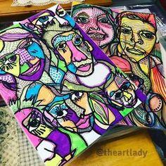 Portrait Illustration The Art Lady: Blind Contour Drawing - Portraiture Blind Contour Drawing, Contour Drawings, Contour Face, High School Drawing, 7th Grade Art, High School Art Projects, Realistic Eye Drawing, Drawing Techniques, Drawing Tips