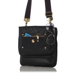 So smart& chic! Knomo Women's Oshika iPad Cross Body Bag Black Leather