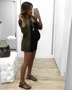 military mood ✔️ ontem completamos #31semanas  #outfit #style #pregnant #baby