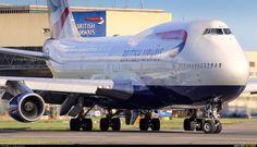 British Airways Boeing 747-436 (registered G-BNLW) taxiing at London-Heathrow