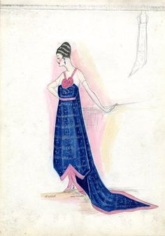 """Evening dress, Callot Soeurs, Fall 1916. Dark blue tea length dress, dress fabric with silver plaid design, A-line skirt, inverted v at hem, trimmed in pink, long train; dark blue bodice, sheer white short sleeves, v-shaped pink shoulder straps, two pink roses in front. (Bendel Collection, HB 020-30)"", 1916. Fashion sketch. Brooklyn Museum, Fashion sketches. (Photo: Brooklyn Museum, SC01.1_Bendel_Collection_HB_020-30_1916_Callot_SL5.jpg)"
