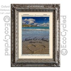 New to EcoCycled on Etsy: Heart in the Sand Customized with Names & Date on Vintage Upcycled Dictionary Art Print Book Anniversary Wedding Love Romance Beach Ocean (15.50 USD)