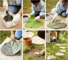 cement leaf stepping stones