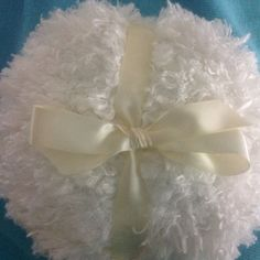 Shaggy Body powder puff, super soft, 8 inches with ivory bow and ribbon handle