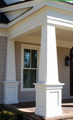 I Love The Horizontal/roof Line Trim Work On This! The Columns Aren with Elegant Craftsman Style Porch Pillars House With Porch, House Front, Facade Design, Craftsman Porch, House Front Porch, Porch Remodel, Front Porch Columns, Front Porch Design, Building A Porch