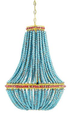 This stunning Wood Beaded Chandelier is made with distressed wooden turquoise, mustard, and red beads. Hard wire.$407. Free shipping. Buy here. Related posts: Junk Gypsy Beaded Chandelier Turquoise Beads Six-Light Chandelier