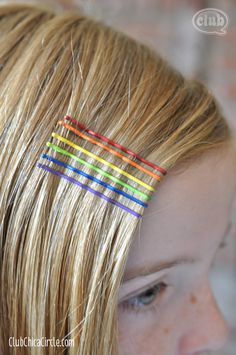 Painted Rainbow Bobby Pins Craft by Club Chica Circle