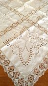 Vintage Linen Tablecloth Broderie Anglaise Cutwork Embroidery Bobbin Lace