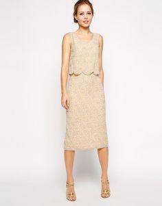 Frock and Frill Crop Top Embellished Midi Shift Dress Scallop Hem UK 10 - US 6