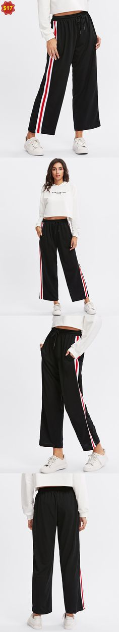 Side Striped Drawstring Waist Pants