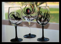 Halloween Hand Painted Wine Glasses. Glows in by GiftswithGlamor