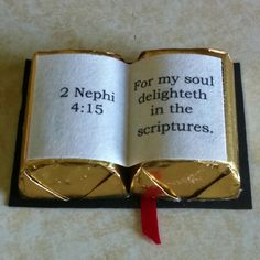Two Hershey's Nuggets make this clever handout about scriptures. Love this. Thanks Raelynn!