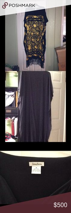 Vintage Neiman Marcus silk caftan. Beautiful black silk caftan with hand embroidered gold silk flowers all over front bodice and sides. Hem has black silk fringe. Slight fading of black near neckline. No collar with split vee opening. NEVER WORN! In storage since 2004. Neiman Marcus Dresses Maxi