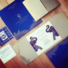 Navy Blue Themed Wedding Invitation