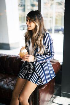 Rag & Bone Striped Blazer and Shorts, Aquazzura Amazon Lace-Up Leather Sandals, Chanel J12 Watch