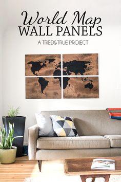 World Map Wall Art DIY - Make this large art piece with just a few supplies! | triedandtrueblog.com