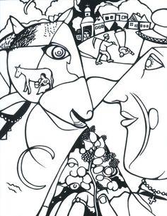 Chagall coloring sheet I and the Village coloring sheet