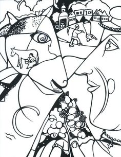 Chagall coloring sheet I and the Village coloring sheet