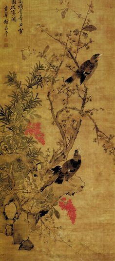 Ba Ge Mo Mei (Mynas and Ink Plums) by Yun Shouping aka Yun Nantian (1633-1690). From the collection. #iamasf #art #painting