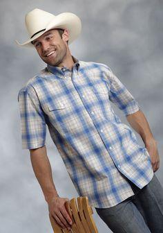 Roper Mens 9010 Spring Plaid Amarillo Sandy Shore Short Sleeve Shirt Button Closure - 2 Pocket