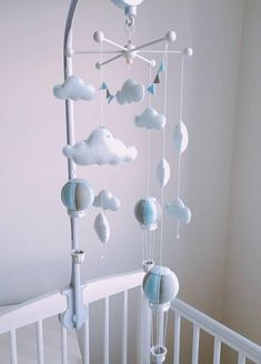 855e8cf7839 Musical Cot Baby Mobile - Hot Air Balloon Mobile - Crystal Mobile - Elegant  blue Nursey Decor - Cloud Mobile - Blue   Grey Nursery - Vegan