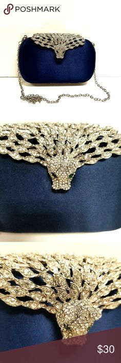 Maja Clutch Navy A glittering embellished jaguar adds just the right pop of sparkle and shine to a classic boxy clutch in smooth satin from INC International Concepts. Unique clutch, New With Out Tags, SOLD OUT IN STORE Marks from broch are shown in the last picture INC International Concepts Bags Clutches & Wristlets