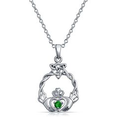 Angara Celtic Trinity Emerald Knot Necklace in White Gold 5GjJxn