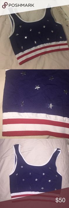 American flag USA crop top bralette Fourth of July Perfect piece for a Fourth of July function. NEVER WORN!! purchased at LF LF Tops Crop Tops