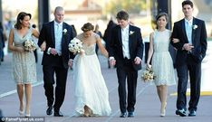 The wedding party walked Reservoir Dogs style for the photographer , Rose Byrne is chief bridesmaid, nice dresses. Wedding Bridesmaid Dresses, Brides And Bridesmaids, Wedding Gowns, Wedding Trends, Wedding Styles, Wedding Photos, Wedding Stuff, Wedding Ideas, Best Friend Wedding