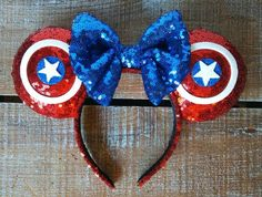 Avengers Captain America Inspired Mickey Ears by EverAfterByPatti Diy Disney Ears, Disney Mickey Ears, Disney Diy, Disney Crafts, Disney Trips, Minnie Mouse, Disney Bows, Disney Cruise, Disney Vacations