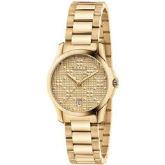 Gucci Women's Swiss G-Timeless Gold-Tone Pvd Stainless Steel Bracelet... ($980) ❤ liked on Polyvore featuring jewelry, watches, no color, watch bracelet, stainless steel jewelry, stainless steel wrist watch, gold tone bracelet watch and gold tone jewelry