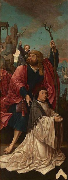 Saint Christopher and donor, Jacob Cornelisz. van Oostsanen, 1517 - 1519 | Museum Boijmans Van Beuningen