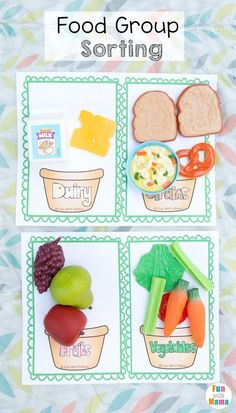 Free homeschool freebie food group sorting worksheet cut and paste activity. Kids will sort vegetables, dairy, fruits, and grains. Watch how we used these in an imaginary play picnic. (Sponsored by Lakeshore Learning)
