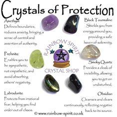 Crystals for Protection (Amethyst, Prehnite, Labradorite, Tourmaline, Smoky Quartz and Obsidian) Crystal Healing Stones, Crystal Magic, Crystal Wall, Crystal Guide, Crystals And Gemstones, Stones And Crystals, Crystals For Home, Crystals For Luck, Wicca Crystals