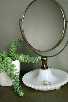 I imagine this vintage milk glass mirror in a room with a white iron bed covered in a white matelasse spread. Milk Glass Lamp, Glass Lamps, Vintage Decor, Vintage Mirrors, Vintage Wood, Fenton Glass, Glass Dishes, Carnival Glass, Glass Collection