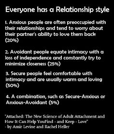 Good read, I learned a lot about myself & relationships I've had. I'm clearly an Avoidant, who's obviously attracted to Anxious... with an Anxious-Avoidant or 2 in my past to really make things fun.